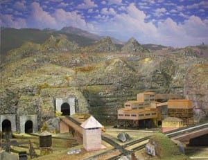 Backdrop of the model railroad layout.