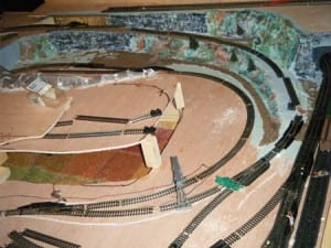 Top view of the unfinished model railroad.