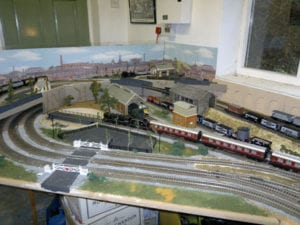 backdrop and station of model railroad